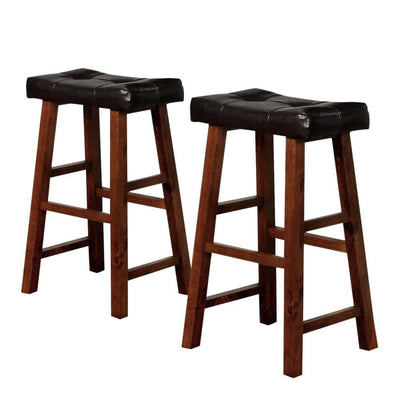 "29"" Leatherette Seat Bar Height Stool, Set of 2, Brown by Casagear Home"