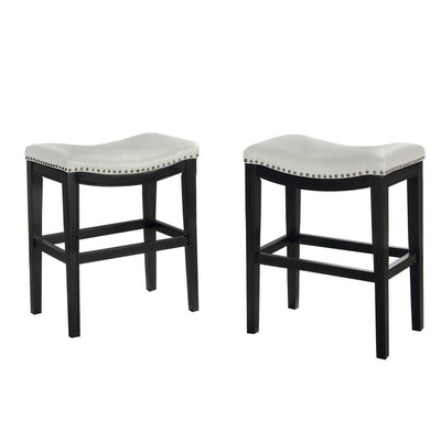 "24"" Wooden Counter Height Stool, Set of 2, Black and White by Casagear Home"