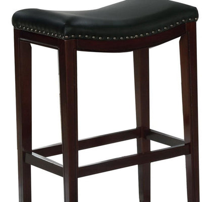 29 Wooden Bar Height Stool Set of 2 Black and Brown by Casagear Home BM229255