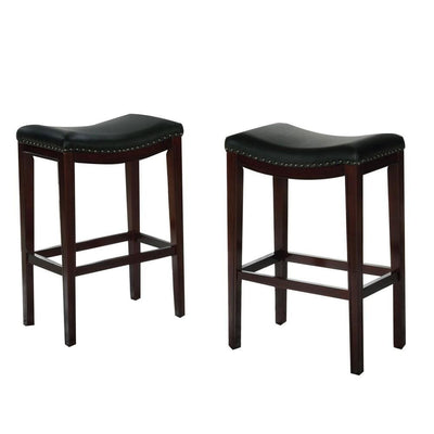 "29"" Wooden Bar Height Stool, Set of 2, Black and Brown by Casagear Home"