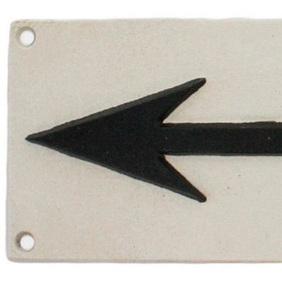 Metal Frame Wall Sign with Arrow Sign White and Black By Casagear Home BM229311