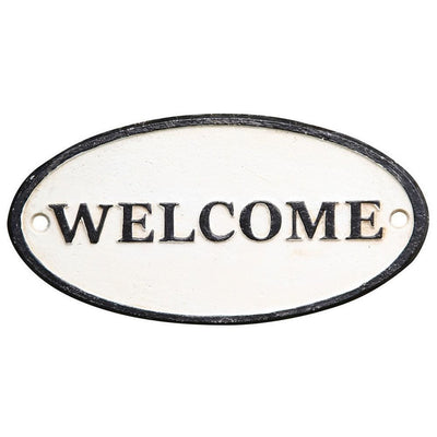 Oval Metal Wall Sign with Welcome Typography, White and Black By Casagear Home