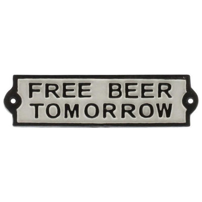 FREE BEER TOMORROW Metal Frame Wall Sign, White and Black By Casagear Home