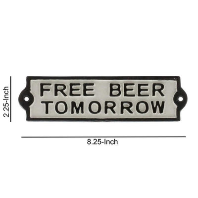FREE BEER TOMORROW Metal Frame Wall Sign White and Black By Casagear Home BM229318