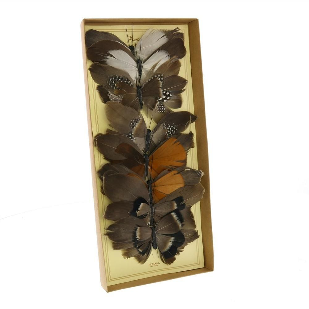 Feather Butterfly Accent Decor, Assortment of 8, Brown By Casagear Home