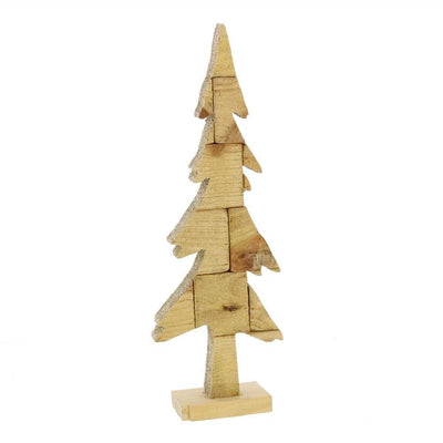Wooden Pine Tree Design Accent Decor, Small, Brown By Casagear Home