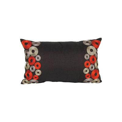 Rectangle Fabric Pillow with Embroidered Circles, Black By Casagear Home