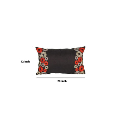 Rectangle Fabric Pillow with Embroidered Circles Black By Casagear Home BM229366