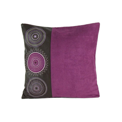 Leatherette and Fabric Accent Pillow, Purple and Brown By Casagear Home