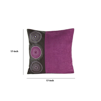 Leatherette and Fabric Accent Pillow Purple and Brown By Casagear Home BM229375