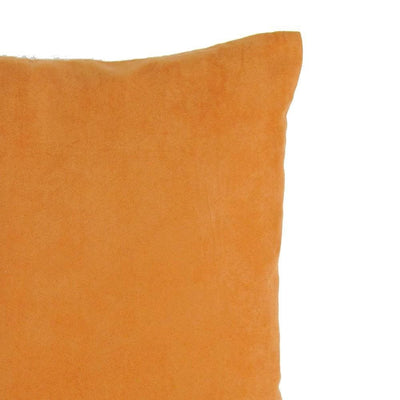 Leatherette and Fabric Accent Pillow Orange and Brown By Casagear Home BM229377