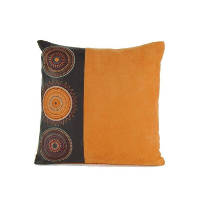 Leatherette and Fabric Accent Pillow, Orange and Brown By Casagear Home