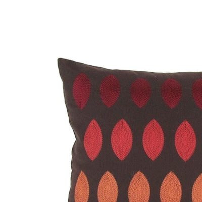 Fabric Accent Pillow with Embroidery Brown and Red By Casagear Home BM229378