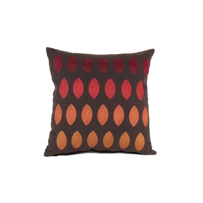 Fabric Accent Pillow with Embroidery, Brown and Red By Casagear Home
