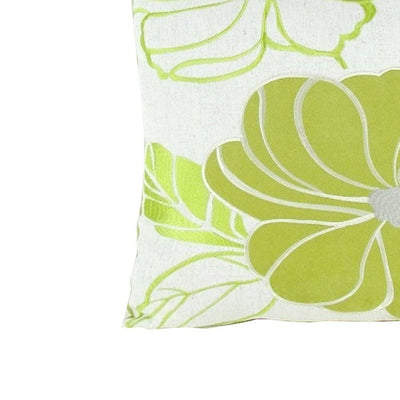 Floral Pattern Fabric Accent Pillow Green and White By Casagear Home BM229380