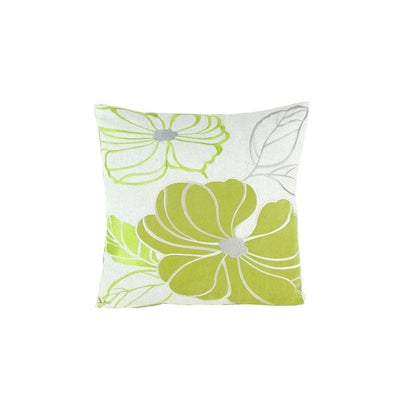 Floral Pattern Fabric Accent Pillow, Green and White By Casagear Home