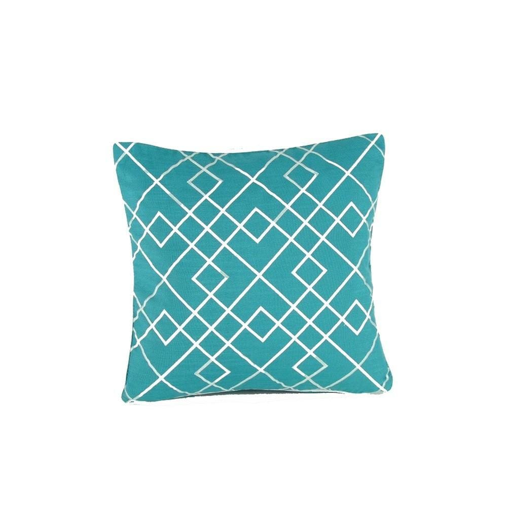 Geometric Pattern Fabric Accent Pillow, Blue and White By Casagear Home