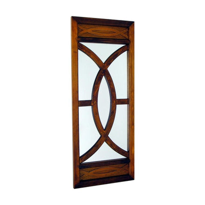 Geometric Pattern Wooden Frame Wall Mirror, Brown By Casagear Home