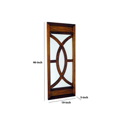 Geometric Pattern Wooden Frame Wall Mirror Brown By Casagear Home BM229390