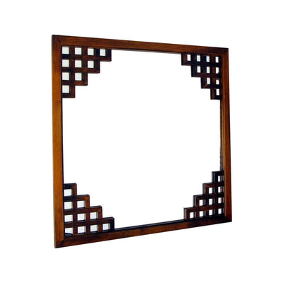 Wooden Frame Wall Mirror with Lattice Design, Brown By Casagear Home