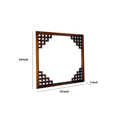 Wooden Frame Wall Mirror with Lattice Design Brown By Casagear Home BM229393