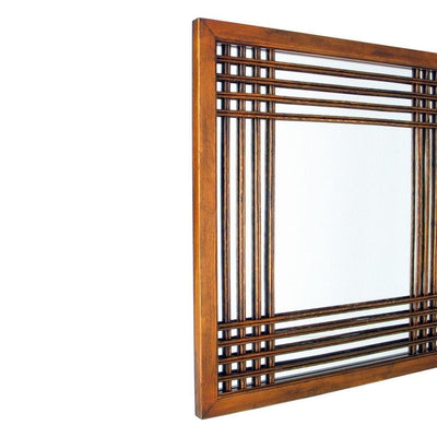 Lattice Design Wooden Frame Wall Mirror Brown By Casagear Home BM229394
