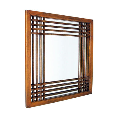 Lattice Design Wooden Frame Wall Mirror, Brown By Casagear Home