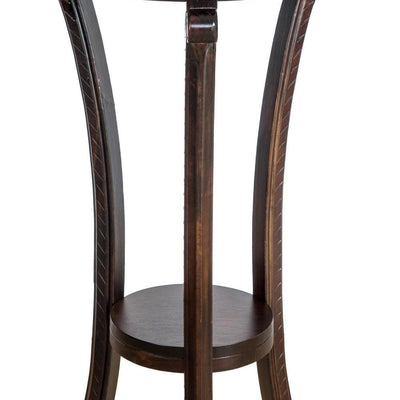 Round Wooden Pedestal Table with Open Shelf Brown By Casagear Home BM229395