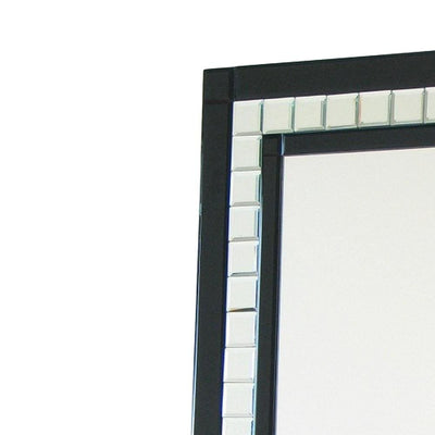 Diamond Cut Glass Accent Wall Mirror Silver and Black By Casagear Home BM229396