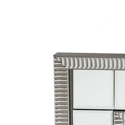Beveled Mirror Accented Rectangular Wall Mirror Silver By Casagear Home BM229397