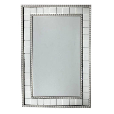 Beveled Mirror Accented Rectangular Wall Mirror, Silver By Casagear Home