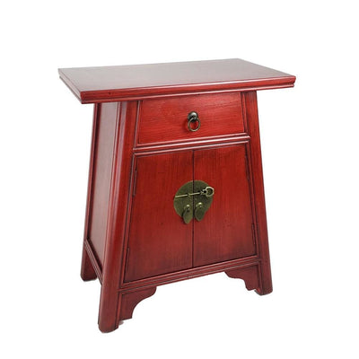 Wooden Cabinet with Two Doors and One Drawer, Red By Casagear Home