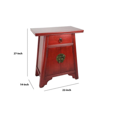 Wooden Cabinet with Two Doors and One Drawer Red By Casagear Home BM229401