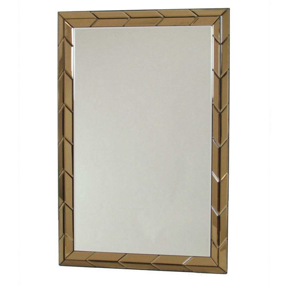Rectangular Wood Frame Beveled Mirror, Brown and Silver By Casagear Home