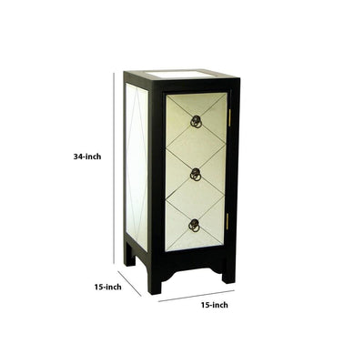 34 Inch Wood and Mirror Storage Chest with 1 Door Black By Casagear Home BM229409