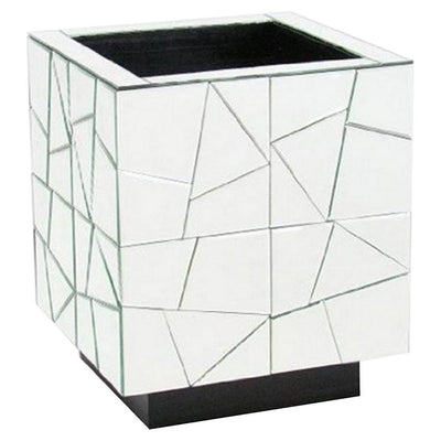 Wooden Stand with Geometric Mirror Inlay, Silver By Casagear Home