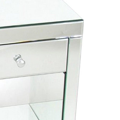 26 Inch Beveled Mirror Chest with 1 Drawer Silver By Casagear Home BM229416