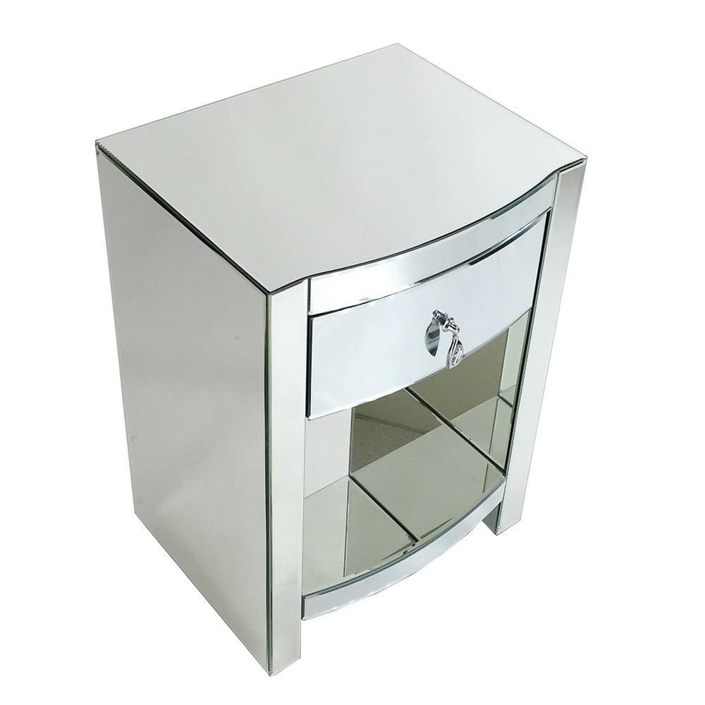 26 Inch Curved Mirror Chest with 1 Drawer, Silver By Casagear Home