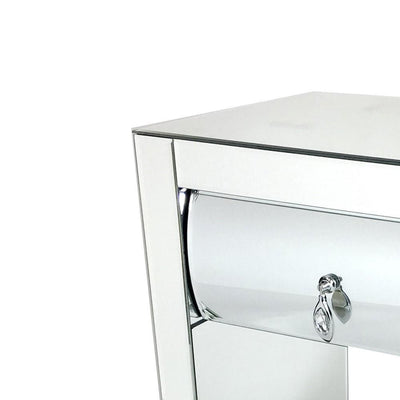 26 Inch Modern Mirror Chest with 1 Drawer Silver By Casagear Home BM229421
