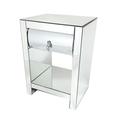 26 Inch Modern Mirror Chest with 1 Drawer, Silver By Casagear Home