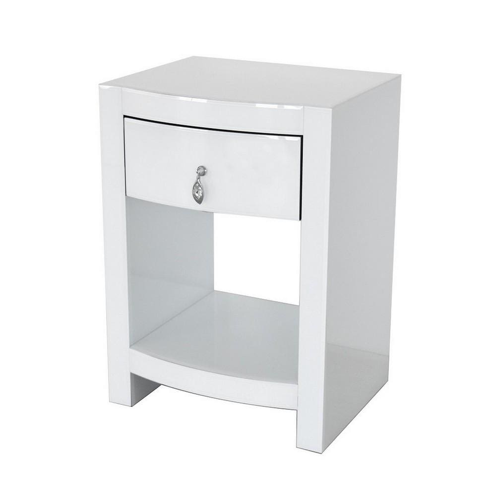 26 Inch Curved Wood and Glass Chest with 1 Drawer, White By Casagear Home