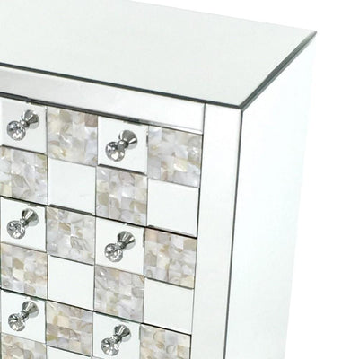 26 inch 3 Drawer Chest with Mirror Inlay Silver By Casagear Home BM229427