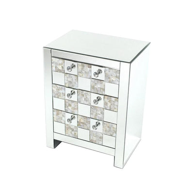 26 inch 3 Drawer Chest with Mirror Inlay, Silver By Casagear Home