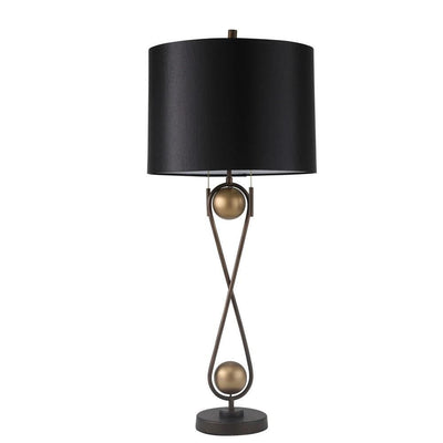 33'' Metal Table Lamp with Infinity Design Base, Bronze By Casagear Home