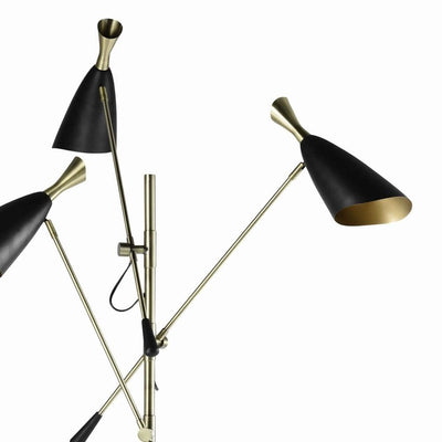 77'' 3 Light Floor Lamp with Adjustable Height Black By Casagear Home BM229470