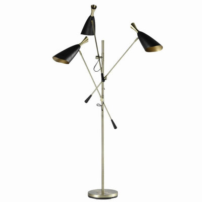77'' 3 Light Floor Lamp with Adjustable Height, Black By Casagear Home