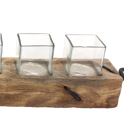 4.5 Wooden Votive Candle Holder with Five Glasses Brown by Casagear Home BM229478