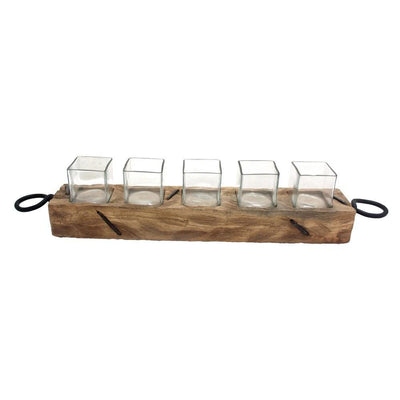 "4.5"" Wooden Votive Candle Holder with Five Glasses, Brown by Casagear Home"