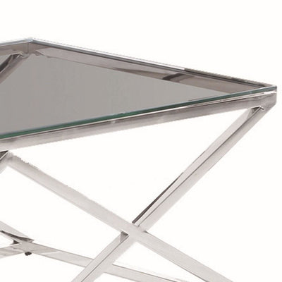 47.25 Diamond Shape Cocktail Table with Glass Top Silver by Casagear Home BM229487