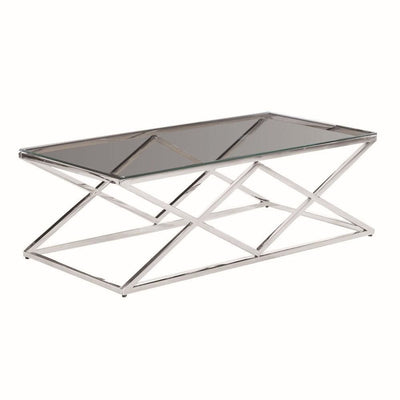 "47.25"" Diamond Shape Cocktail Table with Glass Top, Silver by Casagear Home"